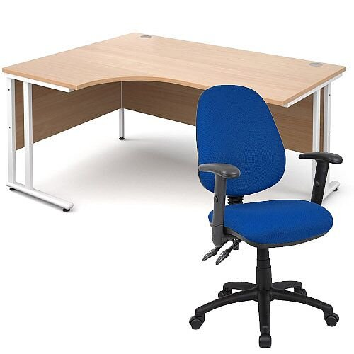 BUNDLE DEAL - Maestro 25 Left Hand Ergonomic L-Shaped Office Desk In Beech 1600mm White Cantilever Frame - With Vantage V102 Chair In Blue