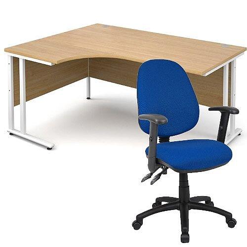 BUNDLE DEAL - Maestro 25 Left Hand Ergonomic L-Shaped Office Desk In Oak 1600mm White Cantilever Frame - With Vantage V102 Chair In Blue