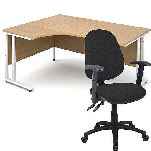 BUNDLE DEAL - Maestro 25 Left Hand Ergonomic L-Shaped Office Desk In Oak 1600mm White Cantilever Frame - With Vantage V102 Chair In Black