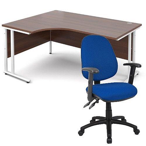 BUNDLE DEAL - Maestro 25 Left Hand Ergonomic L-Shaped Office Desk In Walnut 1600mm White Cantilever Frame - With Vantage V102 Chair In Blue