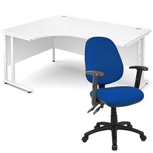BUNDLE DEAL - Maestro 25 Left Hand Ergonomic L-Shaped Office Desk In White 1600mm White Cantilever Frame - With Vantage V102 Chair In Blue