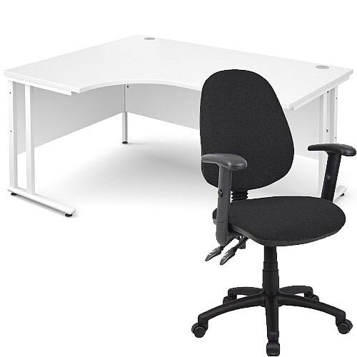 BUNDLE DEAL - Maestro 25 Left Hand Ergonomic L-Shaped Office Desk In White 1600mm White Cantilever Frame - With Vantage V102 Chair In Black