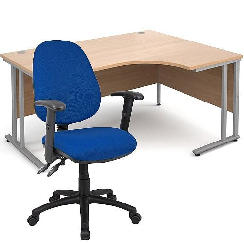 BUNDLE DEAL - Maestro 25 Right Hand Ergonomic L-Shaped Office Desk In Beech 1600mm Silver Cantilever Frame - With Vantage V102 Chair In Blue