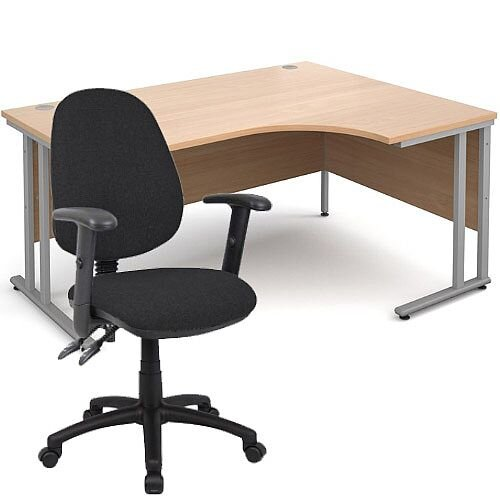 BUNDLE DEAL - Maestro 25 Right Hand Ergonomic L-Shaped Office Desk In Beech 1600mm Silver Cantilever Frame - With Vantage V102 Chair In Black