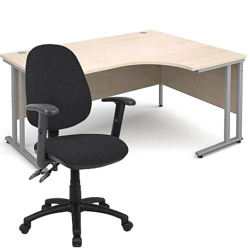 BUNDLE DEAL - Maestro 25 Right Hand Ergonomic L-Shaped Office Desk In Maple 1600mm Silver Cantilever Frame - With Vantage V102 Chair In Black