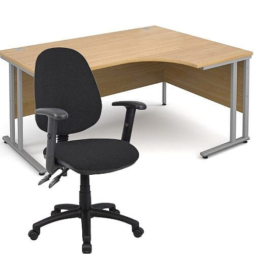 BUNDLE DEAL - Maestro 25 Right Hand Ergonomic L-Shaped Office Desk In Oak 1600mm Silver Cantilever Frame - With Vantage V102 Chair In Black