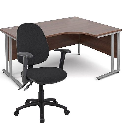 BUNDLE DEAL - Maestro 25 Right Hand Ergonomic L-Shaped Office Desk In Walnut 1600mm Silver Cantilever Frame - With Vantage V102 Chair In Black