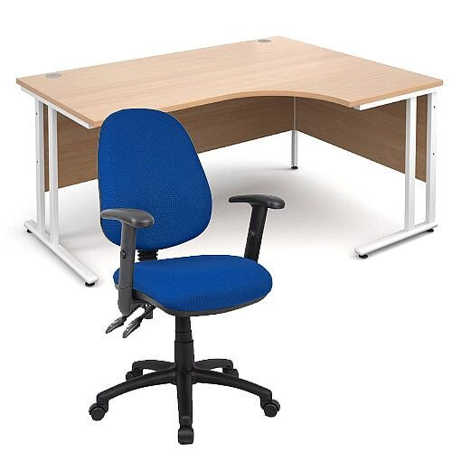 BUNDLE DEAL - Maestro 25 Right Hand Ergonomic L-Shaped Office Desk In Beech 1600mm White Cantilever Frame - With Vantage V102 Chair In Blue