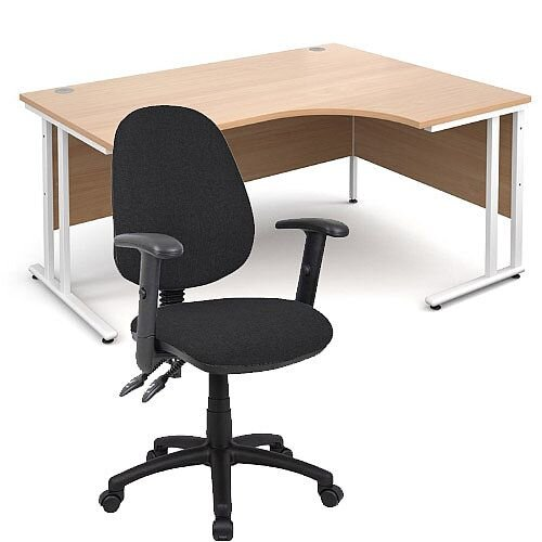 BUNDLE DEAL - Maestro 25 Right Hand Ergonomic L-Shaped Office Desk In Beech 1600mm White Cantilever Frame - With Vantage V102 Chair In Black