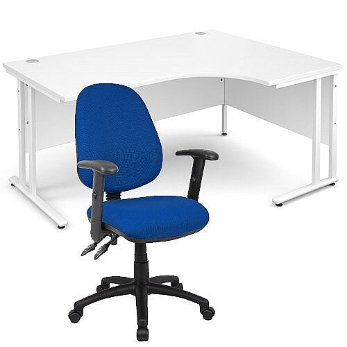 BUNDLE DEAL - Maestro 25 Right Hand Ergonomic L-Shaped Office Desk In White 1600mm White Cantilever Frame - With Vantage V102 Chair In Blue