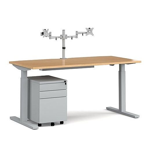 Elev8 Mono straight sit-stand desk 1600mm - silver frame, beech top with matching double monitor arm, steel pedestal and cable tray