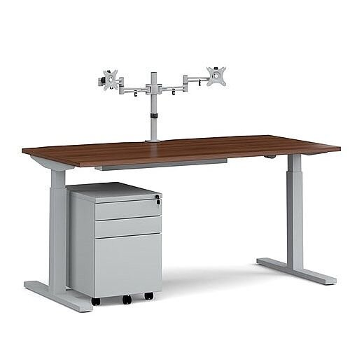 Elev8 Mono straight sit-stand desk 1600mm - silver frame, walnut top with matching double monitor arm, steel pedestal and cable tray