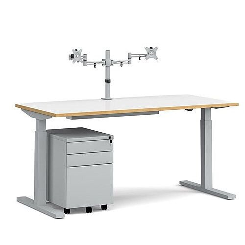 Elev8 Mono straight sit-stand desk 1600mm - silver frame, white top with oak edge with matching double monitor arm, steel pedestal and cable tray