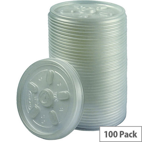 Maxima Disposable Plastic Lids for Foam Insulated Disposable Cups 7oz/200ml [Pack of 100]