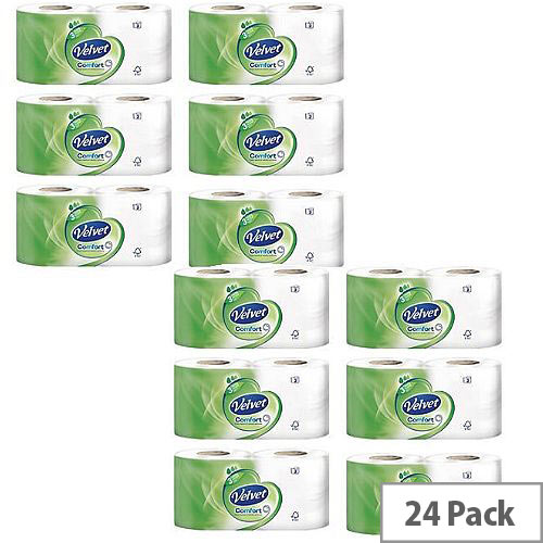 Triple Velvet Toilet Tissue Paper Rolls White 3-Ply 200 Sheets per Roll (Pack of 24) 1102088