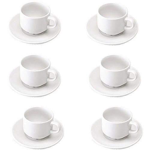 Cup and Saucer Pack of 6 White KDSWCS CPD16905