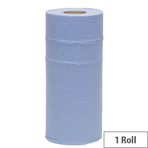 2Work Hygienic Paper Towels 2-ply Roll Paper Cleaning Towel Non Centrefeed Blue Paper 250mm Wide x 40m Long Pack 1