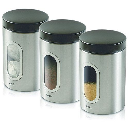 Kitchen Canisters Set of 3 Silver Stainless Steel