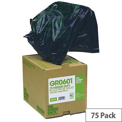 The Green Sack Heavy Duty Black Refuse Bags in Dispenser Pack of 75 GRO601