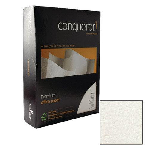 Conqueror Contour Embossed Texture Paper Brilliant White A4 100gsm 500 Sheets