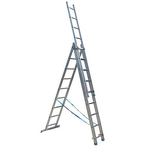 Multi Position Combination 3-Section Aluminum Ladder 9 Rung Height 2.7m Silver