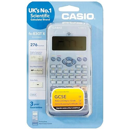 Casio FX-83GTX - Scientific Calculator - Schools &Exams Approved - 276 Advanced Functions, Solar and Battery Powered, Protective Slide-on, Large Textbook Display - Blue