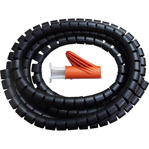 25mm Black 2.5m Cable Tidy Kit for Cables 360 Degree Flexibility