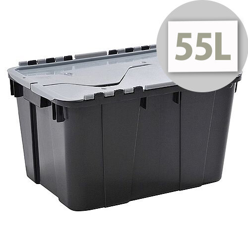 Curver 55L Storage Box - Graphite Colour with Silver Lid - Shatterproof Crate