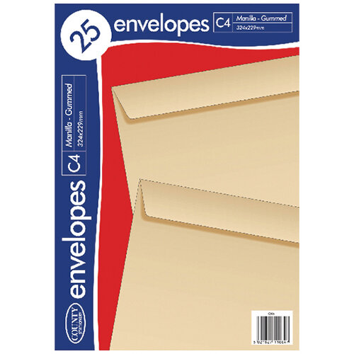 County Stationery C4 Manilla Gummed Envelopes Pack of 500 C506