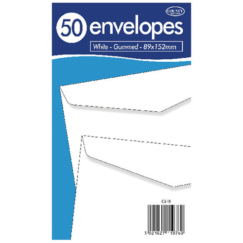 County Stationery White Self Seal Envelopes 89x152mm Pack of 1000 C519