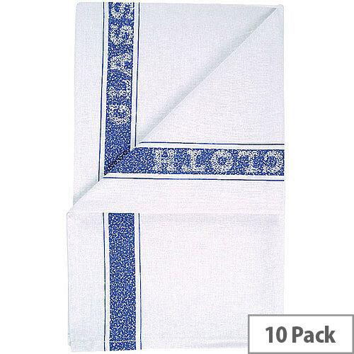 Cotton Glass Cloth Tea Towel 200x300mm White &Blue Pack of 10 TM203010P