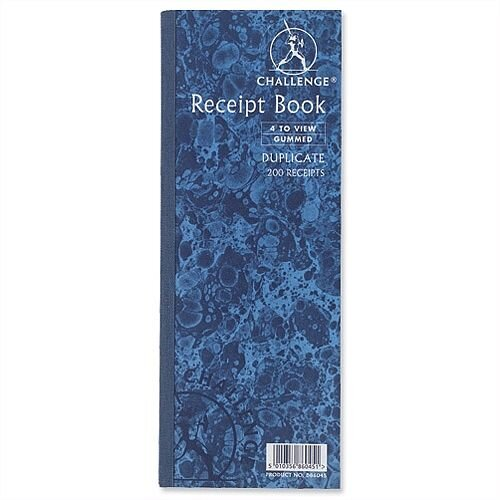 Challenge Receipt Book Gummed Sheets with Carbon 4 to View 200 Receipts 241x92mm D86045 Pack 10
