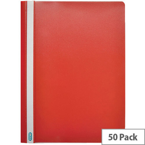 Clearview Flat File Folder A4 Red Pack of 50 Durable 2573/03
