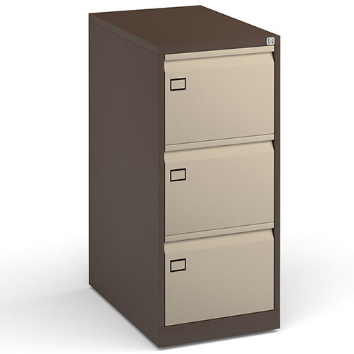 Steel 3 drawer filing cabinet 1016mm high - coffee/cream