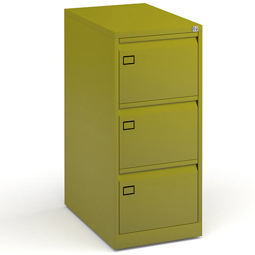 Steel 3 drawer filing cabinet 1016mm high - green
