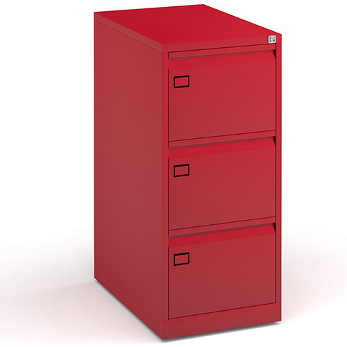 Steel 3 drawer filing cabinet 1016mm high - red