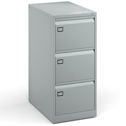 Steel 3 drawer filing cabinet 1016mm high - silver