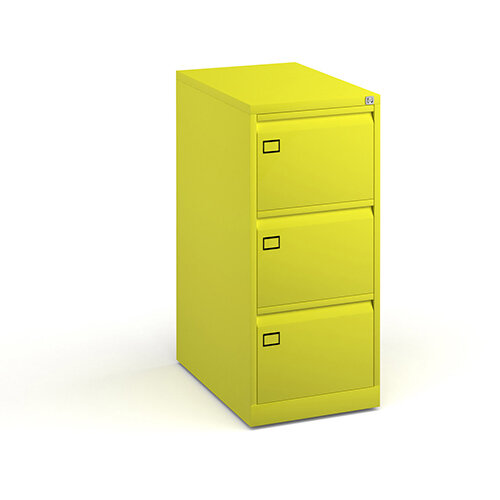 Steel 3 drawer filing cabinet 1016mm high - yellow