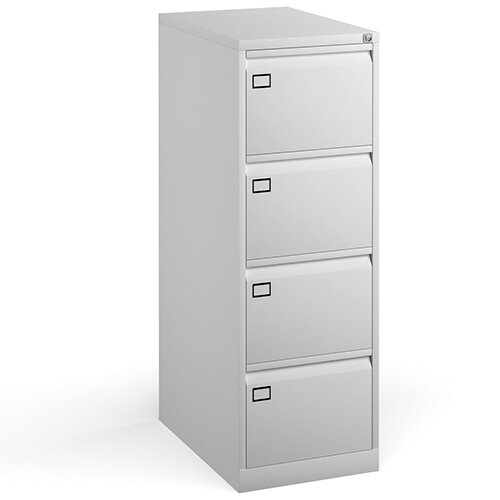 Steel 4 drawer filing cabinet 1321mm high - white