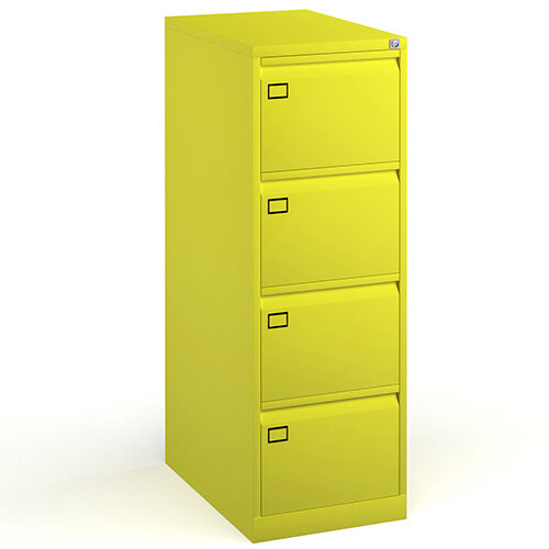 Steel 4 drawer filing cabinet 1321mm high - yellow