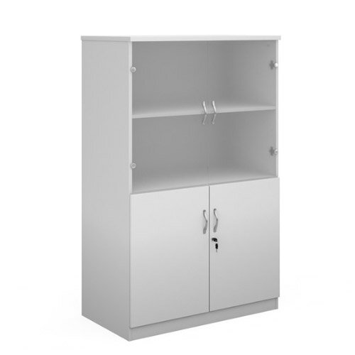 Deluxe Combination Unit With Glass Upper Doors 1600Mm High With 3 Shelves - White