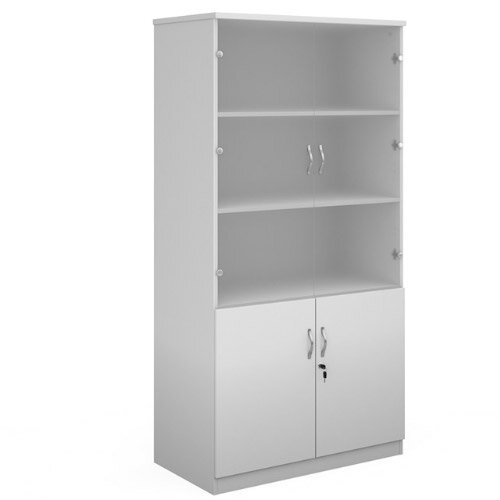 Deluxe Combination Unit With Glass Upper Doors 2000Mm High With 4 Shelves - White