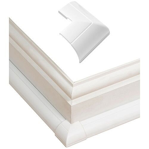 22mm x 22mm Clip-Over External Bend Quadrant Trunking Accessory D-Line - White