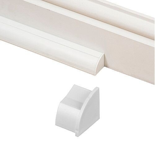 Smooth Fit Right Hand End Cap 22mm x 22mm - White