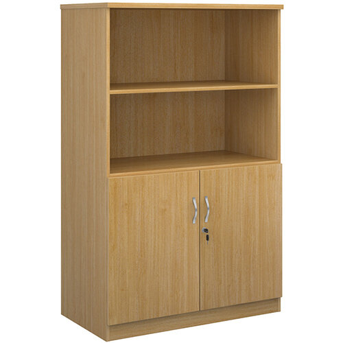 Deluxe combination unit with open top 1600mm high with 3 shelves - oak