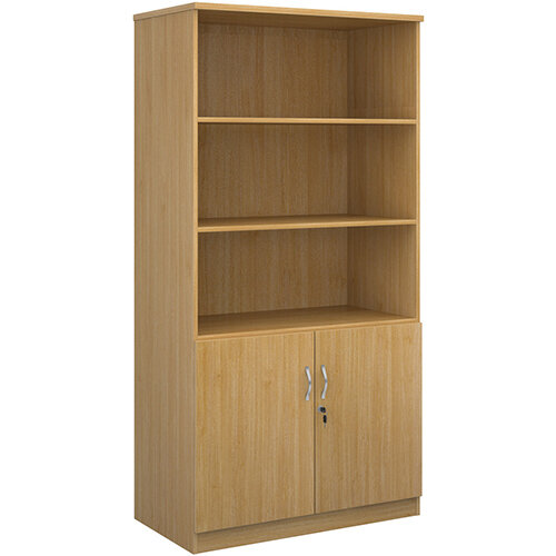 Deluxe combination unit with open top 2000mm high with 4 shelves - oak