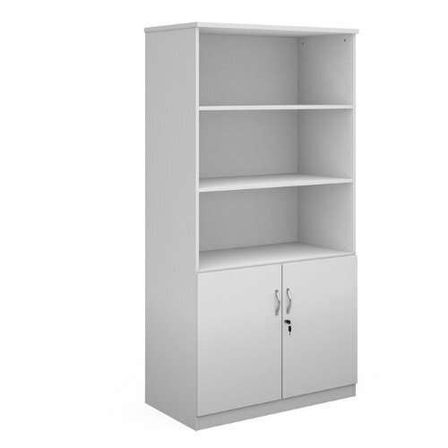 Deluxe Combination Unit With Open Top 2000Mm High With 4 Shelves - White