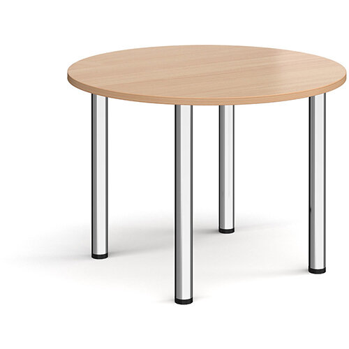 Circular chrome radial leg meeting table 1000mm - beech