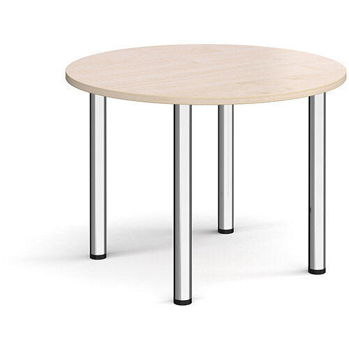 Circular chrome radial leg meeting table 1000mm - maple