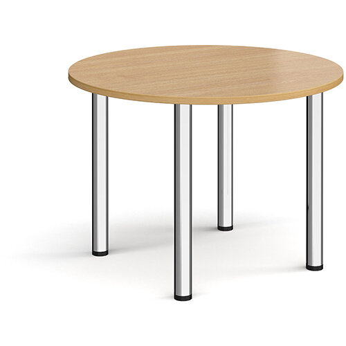 Circular chrome radial leg meeting table 1000mm - oak